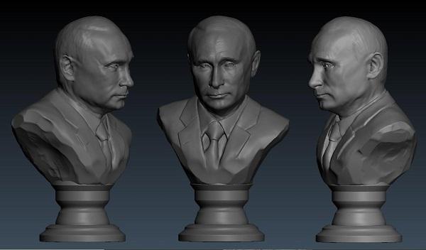 Фото 3D моделирования бюста Путина