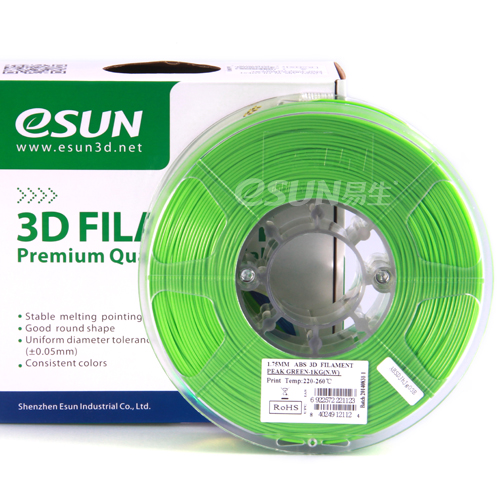 Фото нити для 3D принтера eSUN 3D FILAMENT ABS PEAK GREEN 1.75 мм