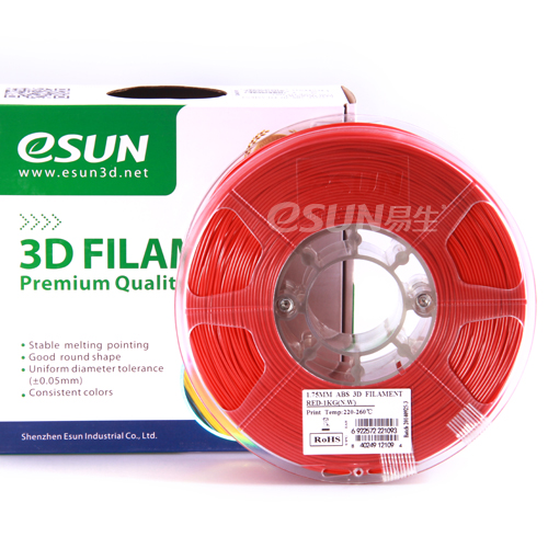 Фото нити для 3D принтера eSUN 3D FILAMENT ABS RED 1.75 мм