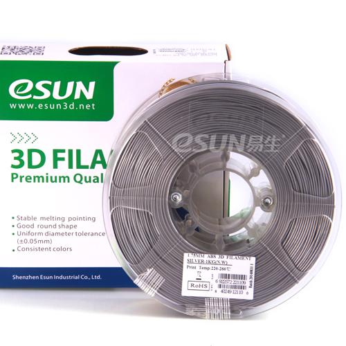 Фото нити для 3D принтера eSUN 3D FILAMENT ABS SILVER 1.75 мм