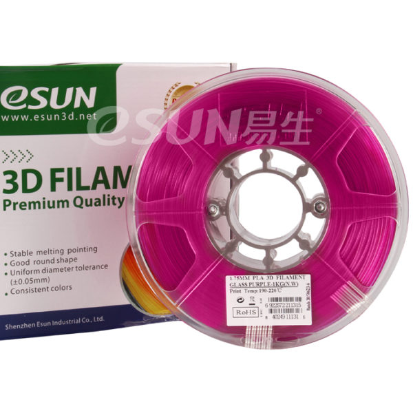Фото нити для 3D принтера eSUN 3D FILAMENT PLA Glass Purple 1.75 мм 1