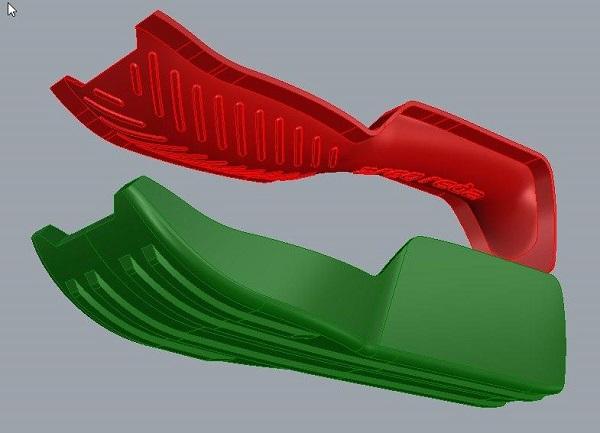 Фото 3D-моделирование санок на колени 3