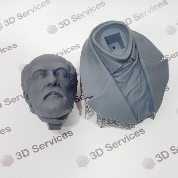 3D печать бюста из фотополимера Grey Resin 1