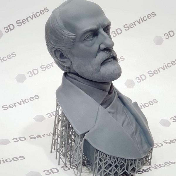 3D печать бюста из фотополимера Grey Resin 3